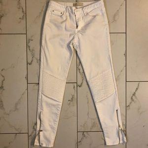 Zara Moto Z1975 white skinny jeans